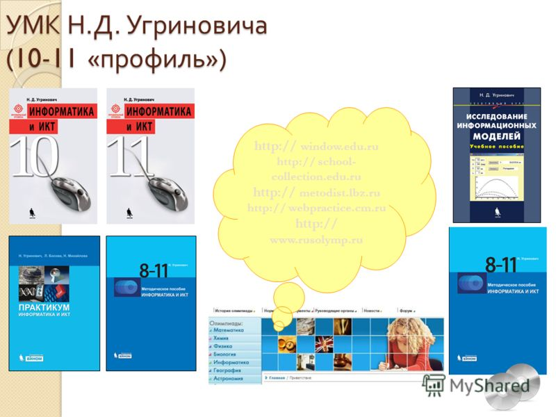 УМК Н. Д. Угриновича (10-11 « профиль ») http:// window.edu.ru http:// school- collection.edu.ru http:// metodist.lbz.ru http:// webpractice.cm.ru http:// www.rusolymp.ru
