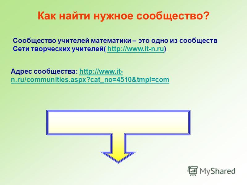Как найти нужное сообщество? Сообщество учителей математики – это одно из сообществ Сети творческих учителей( http://www.it-n.ru)http://www.it-n.ru Адрес сообщества: http://www.it- n.ru/communities.aspx?cat_no=4510&tmpl=comhttp://www.it- n.ru/communi