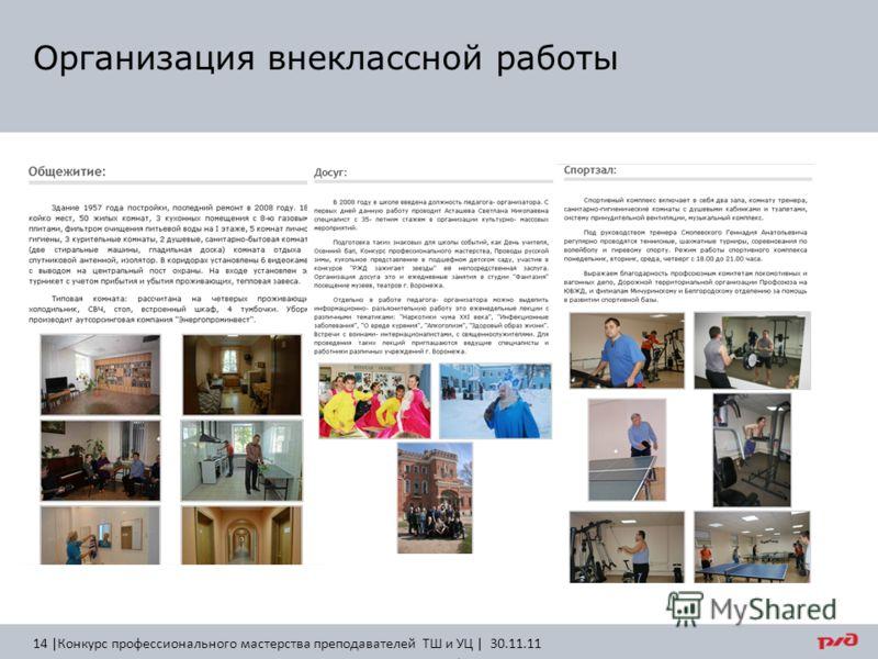 Организация внеклассной работы 14 |Конкурс профессионального мастерства преподавателей ТШ и УЦ | 30.11.11