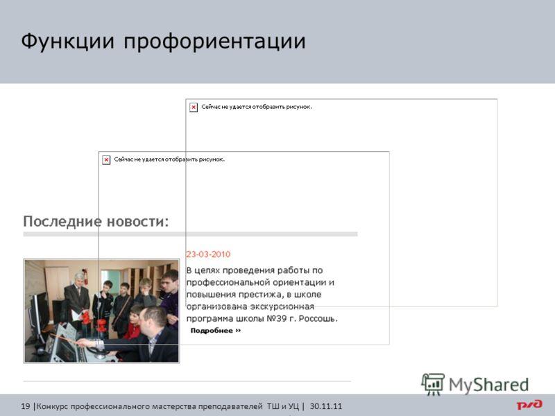 Функции профориентации 19 |Конкурс профессионального мастерства преподавателей ТШ и УЦ | 30.11.11