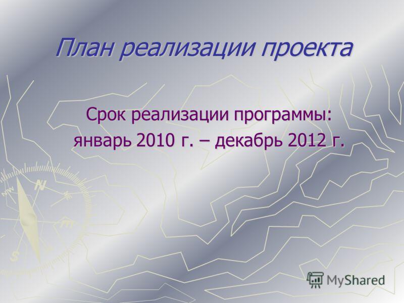 План реализации проекта Срок реализации программы: январь 2010 г. – декабрь 2012 г.