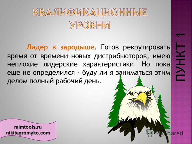 mlmtools.ru nikitagromyko.com Лидер в зародыше. Готов рекрутировать время от времени новых дистрибьюторов, имею неплохие лидерские характеристики. Но пока еще не определился - буду ли я заниматься этим делом полный рабочий день. ПУНКТ 1