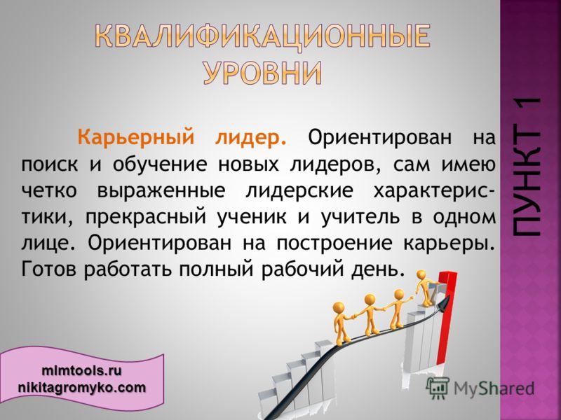mlmtools.ru nikitagromyko.com Карьерный лидер. Ориентирован на поиск и обучение новых лидеров, сам имею четко выраженные лидерские характерис тики, прекрасный ученик и учитель в одном лице. Ориентирован на построение карьеры. Готов работать полный