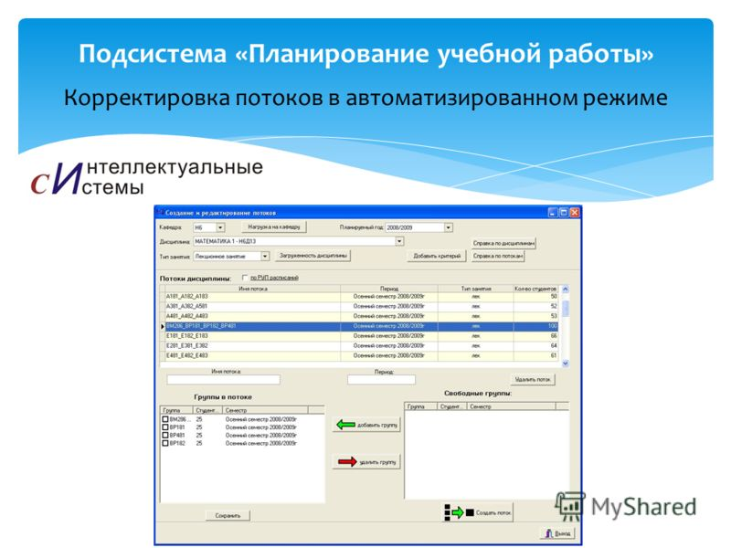 Корректировка потоков в автоматизированном режиме Подсистема «Планирование учебной работы»