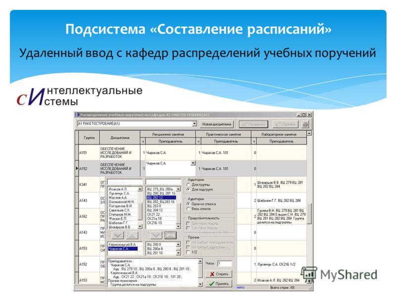 Удаленный ввод с кафедр распределений учебных поручений Подсистема «Составление расписаний»
