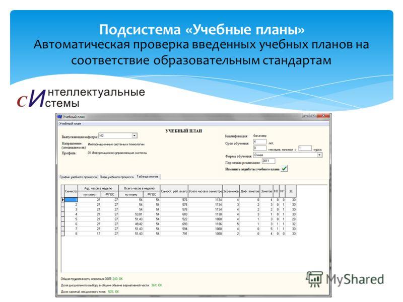 Автоматическая проверка введенных учебных планов на соответствие образовательным стандартам Подсистема «Учебные планы»