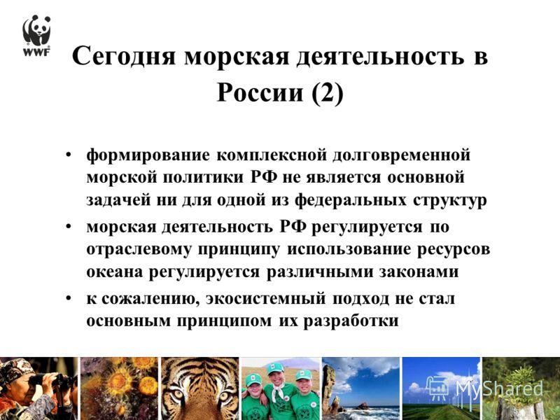 Сегодня морская деятельность в России (2) формирование комплексной долговременной морской политики РФ не является основной задачей ни для одной из федеральных структур морская деятельность РФ регулируется по отраслевому принципу использование ресурсо