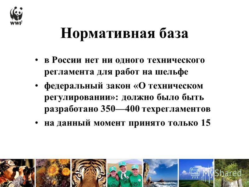 Нормативная база в России нет ни одного технического регламента для работ на шельфе федеральный закон «О техническом регулировании»: должно было быть разработано 350400 техрегламентов на данный момент принято только 15