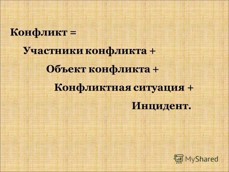Конфликт = Участники конфликта + Объект конфликта + Конфликтная ситуация + Инцидент.