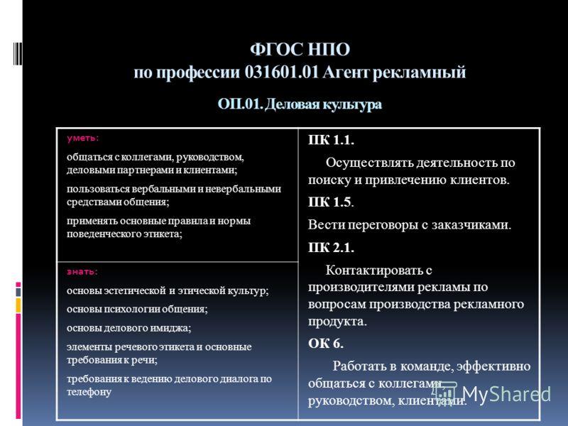 Фгос нпо по профессии 031601 01 агент