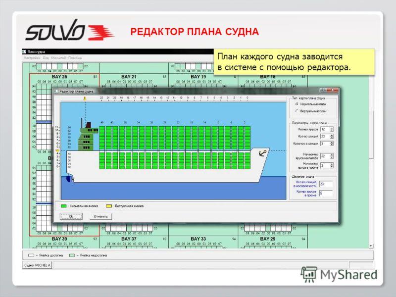 План каждого судна заводится в системе с помощью редактора. План каждого судна заводится в системе с помощью редактора. РЕДАКТОР ПЛАНА СУДНА