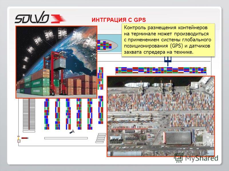Контроль размещения контейнеров на терминале может производиться с применением системы глобального позиционирования (GPS) и датчиков захвата спредера на технике. Контроль размещения контейнеров на терминале может производиться с применением системы г