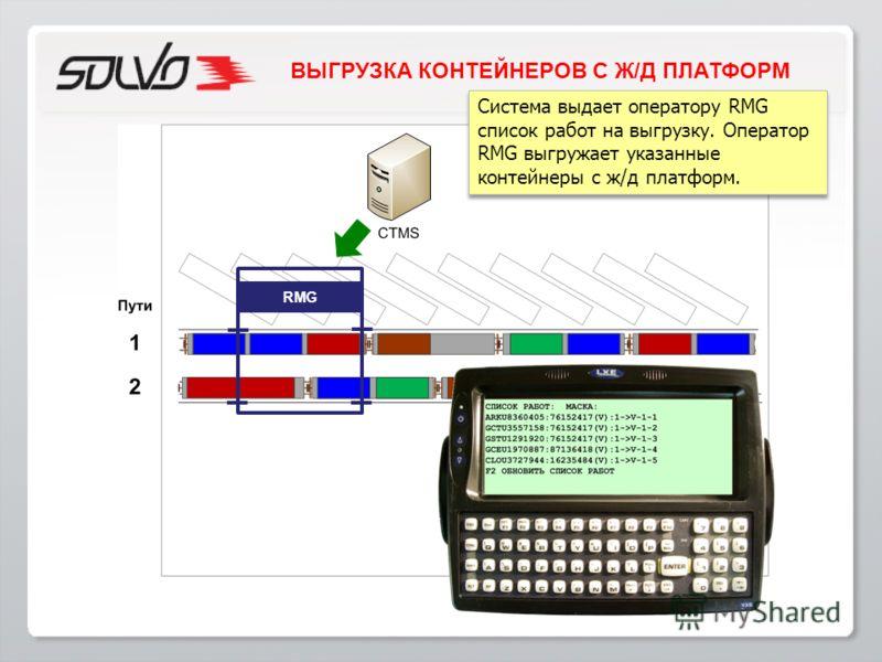 Система выдает оператору RMG список работ на выгрузку. Оператор RMG выгружает указанные контейнеры с ж/д платформ. RMG ВЫГРУЗКА КОНТЕЙНЕРОВ С Ж/Д ПЛАТФОРМ