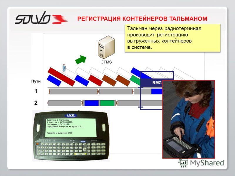 Тальман через радиотерминал производит регистрацию выгруженных контейнеров в системе. Тальман через радиотерминал производит регистрацию выгруженных контейнеров в системе. RMG РЕГИСТРАЦИЯ КОНТЕЙНЕРОВ ТАЛЬМАНОМ