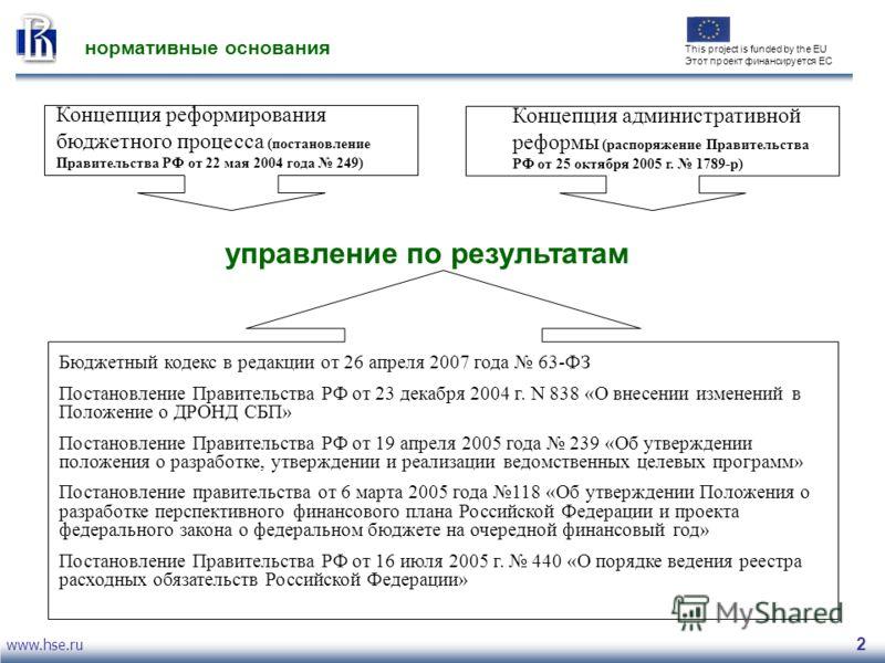 www.hse.ru 2 нормативные основания Концепция реформирования бюджетного процесса (постановление Правительства РФ от 22 мая 2004 года 249) Концепция административной реформы (распоряжение Правительства РФ от 25 октября 2005 г. 1789-р) управление по рез