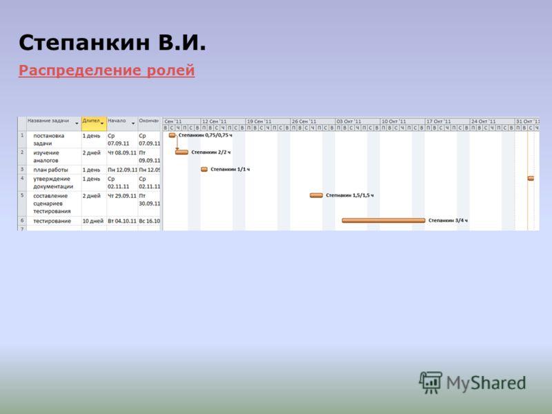 План работ Степанкина В.И. Степанкин В.И. Распределение ролей Распределение ролей