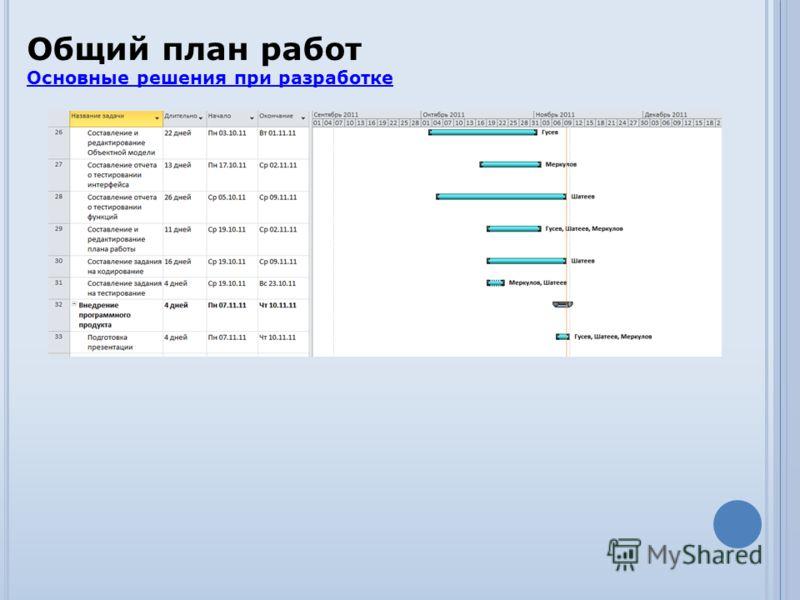 Общий план работ Основные решения при разработке Основные решения при разработке
