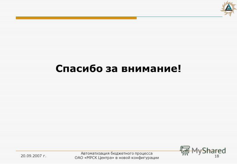 20.09.2007 г. 18 Автоматизация бюджетного процесса ОАО «МРСК Центра» в новой конфигурации Спасибо за внимание!