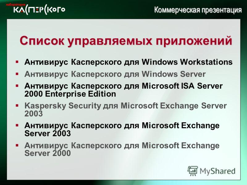 Kaspersky Labs 6 ht Annual Partner Conference · Turkey, June 2-6 2004 Kaspersky Labs 6 th Annual Partner Conference · Turkey, 2-6 June 2004 Коммерческая презентация Список управляемых приложений Антивирус Касперского для Windows Workstations Антивиру