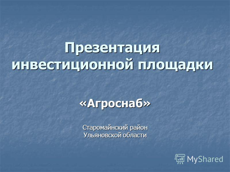 Презентация инвестиционной площадки «Агроснаб» Старомайнский район Ульяновской области