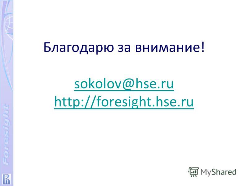 Благодарю за внимание! sokolov@hse.ru http://foresight.hse.ru sokolov@hse.ru http://foresight.hse.ru