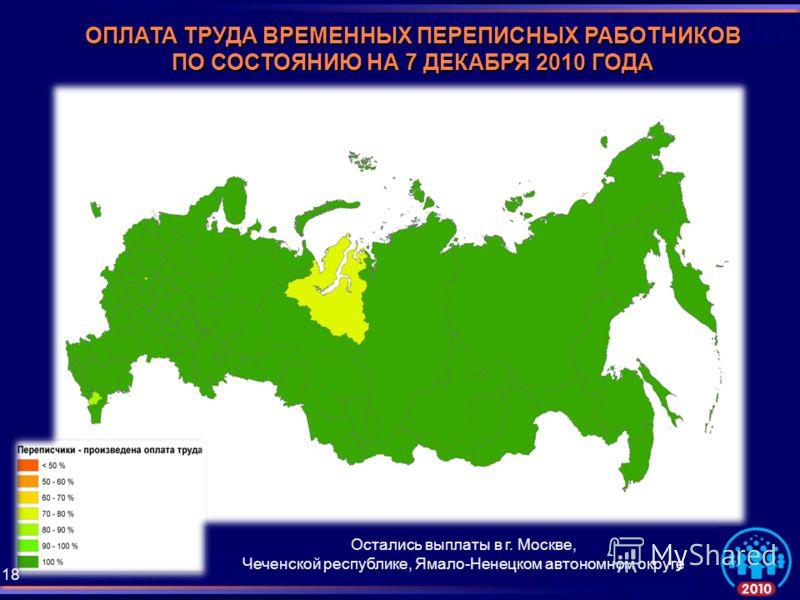 ОПЛАТА ТРУДА ВРЕМЕННЫХ ПЕРЕПИСНЫХ РАБОТНИКОВ ПО СОСТОЯНИЮ НА 7 ДЕКАБРЯ 2010 ГОДА Остались выплаты в г. Москве, Чеченской республике, Ямало-Ненецком автономном округе 18