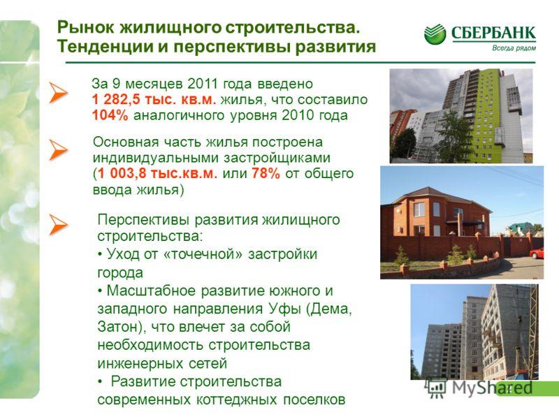 2 За 9 месяцев 2011 года введено 1 282,5 тыс. кв.м. жилья, что составило 104% аналогичного уровня 2010 года Основная часть жилья построена индивидуальными застройщиками (1 003,8 тыс.кв.м. или 78% от общего ввода жилья) Перспективы развития жилищного