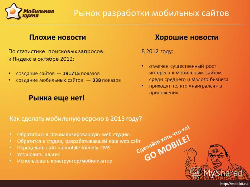 http://mobikit.ru Рынок разработки мобильных сайтов Плохие новости По статистике поисковых запросов к Яндекс в октябре 2012: создание сайтов 191715 показов создание мобильных сайтов 338 показов Хорошие новости Как сделать мобильную версию в 2013 году