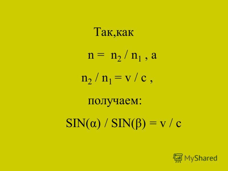 Так,как n = n 2 / n 1, а n 2 / n 1 = v / c, получаем: SIN(α) / SIN(β) = v / c
