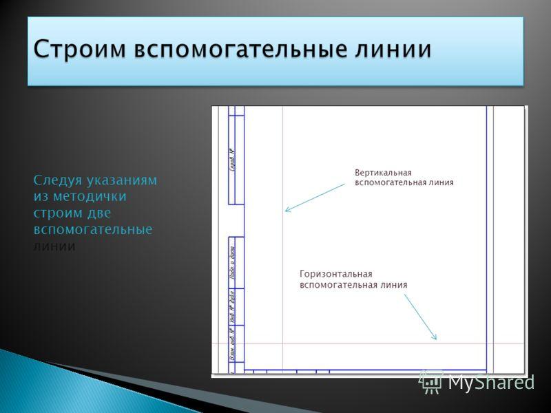 Следуя указаниям из методички строим две вспомогательные линии Вертикальная вспомогательная линия Горизонтальная вспомогательная линия
