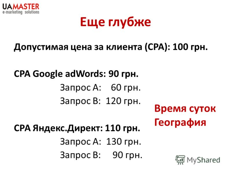 Еще глубже Допустимая цена за клиента (CPA): 100 грн. CPA Google adWords: 90 грн. Запрос А: 60 грн. Запрос В: 120 грн. СРА Яндекс.Директ: 110 грн. Запрос А: 130 грн. Запрос В: 90 грн. Время суток География