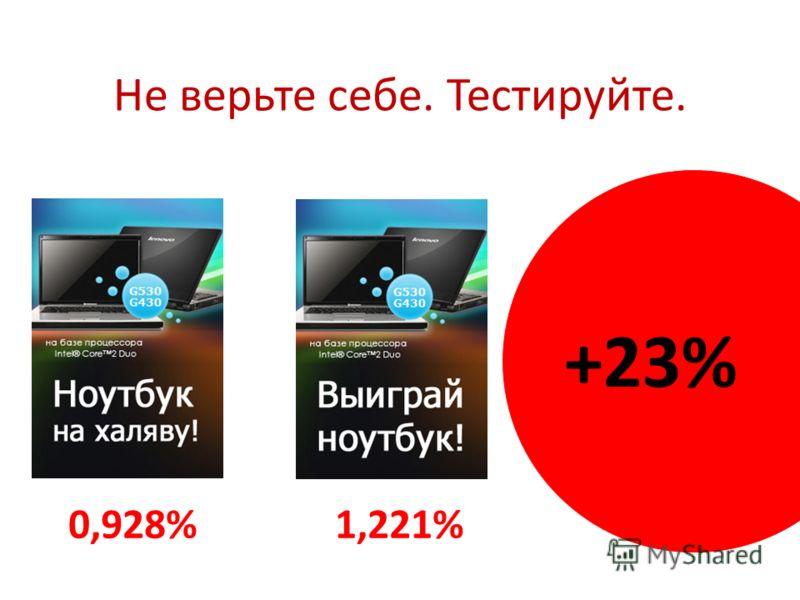 Не верьте себе. Тестируйте. 0,928%1,221% +23%