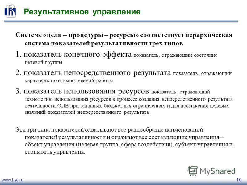 www.hse.ru 16 Результативное управление Системе «цели – процедуры – ресурсы» соответствует иерархическая система показателей результативности трех типов 1. показатель конечного эффекта показатель, отражающий состояние целевой группы 2. показатель неп