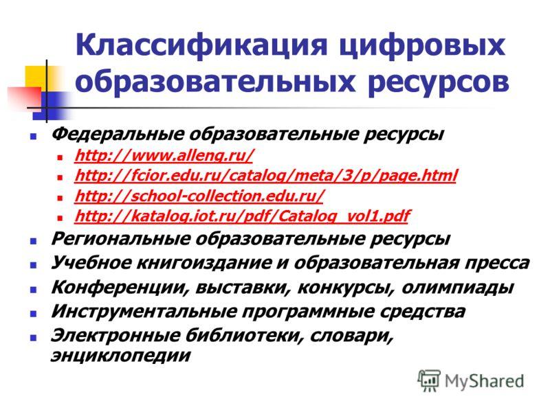 Классификация цифровых образовательных ресурсов Федеральные образовательные ресурсы http://www.alleng.ru/ http://fcior.edu.ru/catalog/meta/3/p/page.html http://school-collection.edu.ru/ http://katalog.iot.ru/pdf/Catalog_vol1.pdf Региональные образова