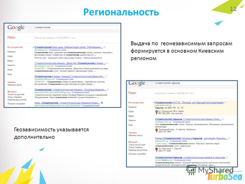 Региональность 12 Геозависимость указывается дополнительно Выдача по геонезависимым запросам формируется в основном Киевским регионом