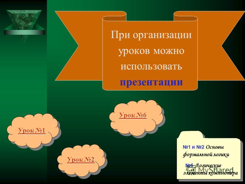 При организации уроков можно использовать презентации Урок 1 Урок 1 Урок 2 Урок 2 Урок 6 Урок 6 1 и 2 Основы формальной логики 6 Логические элементы компьютера