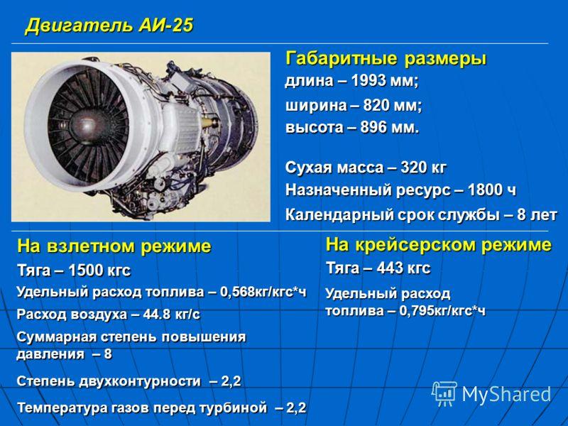 На взлетном режиме Двигатель АИ-25 Тяга – 1500 кгс Удельный расход топлива – 0,568кг/кгс*ч Суммарная степень повышения давления – 8 Степень двухконтурности – 2,2 Температура газов перед турбиной – 2,2 На крейсерском режиме Тяга – 443 кгс Расход возду