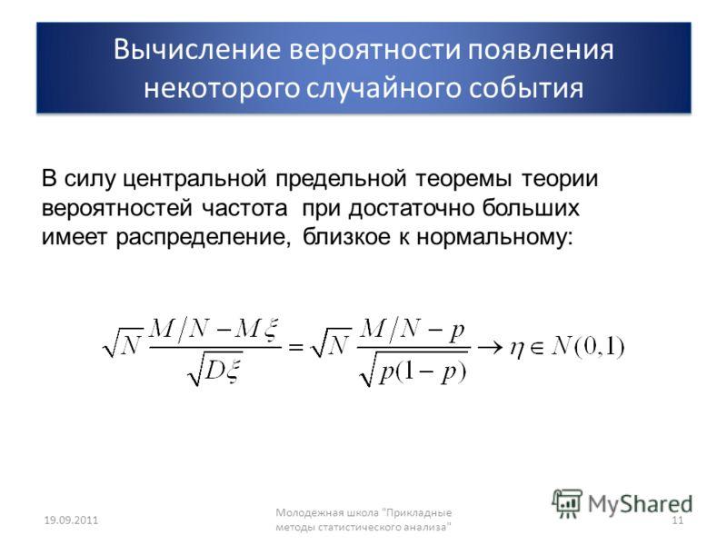 Вычисление вероятности появления некоторого случайного события 19.09.2011 Молодежная школа