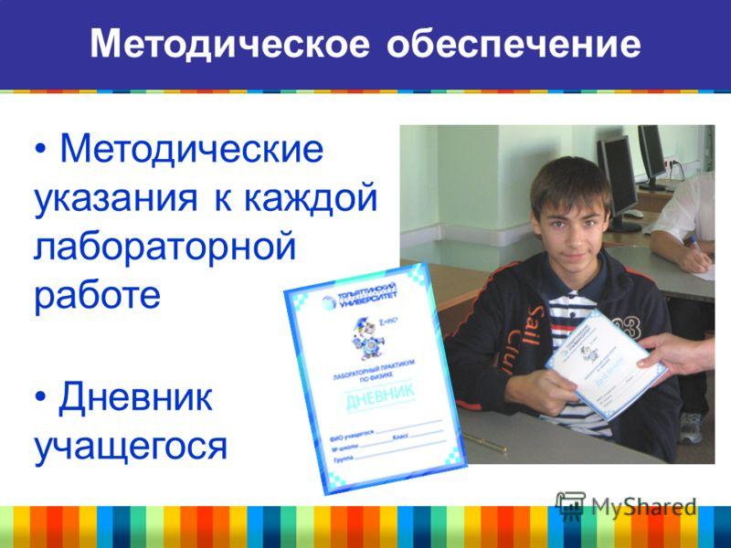 Методическое обеспечение Методические указания к каждой лабораторной работе Дневник учащегося