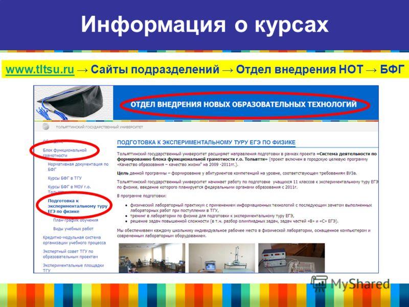 Информация о курсах www.tltsu.ruwww.tltsu.ru Сайты подразделений Отдел внедрения НОТ БФГ