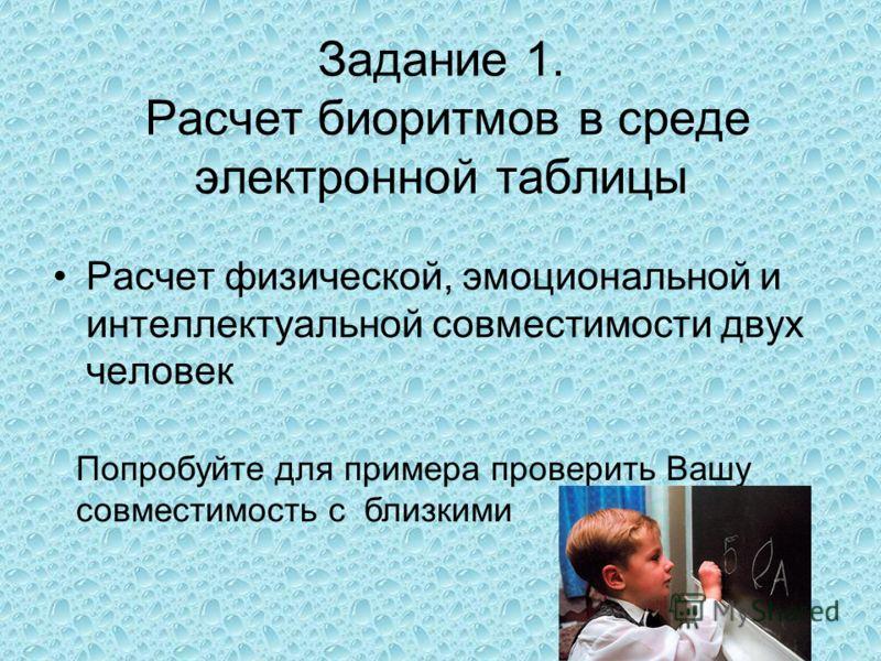 Задание 1. Расчет биоритмов в среде электронной таблицы Расчет физической, эмоциональной и интеллектуальной совместимости двух человек Попробуйте для примера проверить Вашу совместимость с близкими