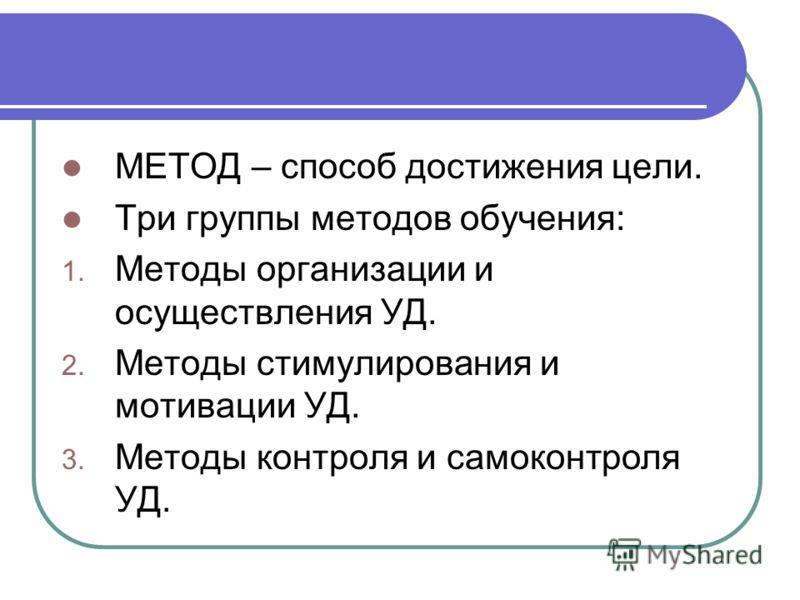 МЕТОД – способ достижения цели. Три группы методов обучения: 1. Методы организации и осуществления УД. 2. Методы стимулирования и мотивации УД. 3. Методы контроля и самоконтроля УД.