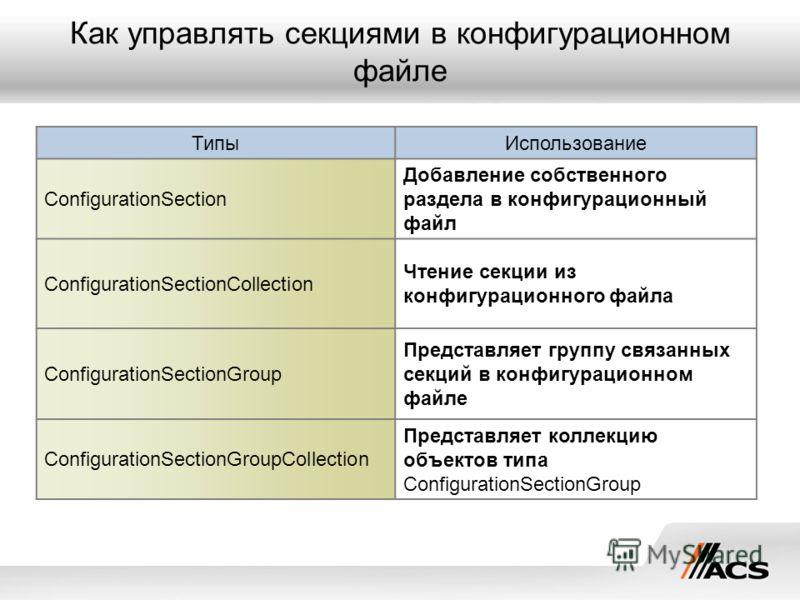 Как управлять секциями в конфигурационном файле ТипыИспользование ConfigurationSection Добавление собственного раздела в конфигурационный файл ConfigurationSectionCollection Чтение секции из конфигурационного файла ConfigurationSectionGroup Представл