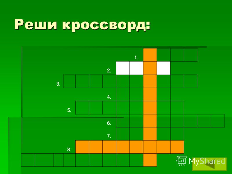 Реши кроссворд: 1. 2. 3. 4. 5. 6. 7. 8.