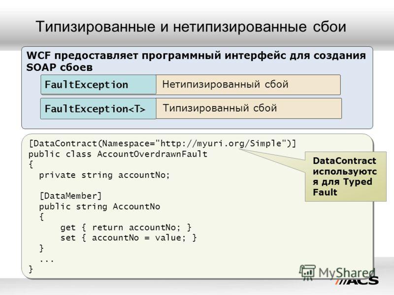 Типизированные и нетипизированные сбои [DataContract(Namespace=