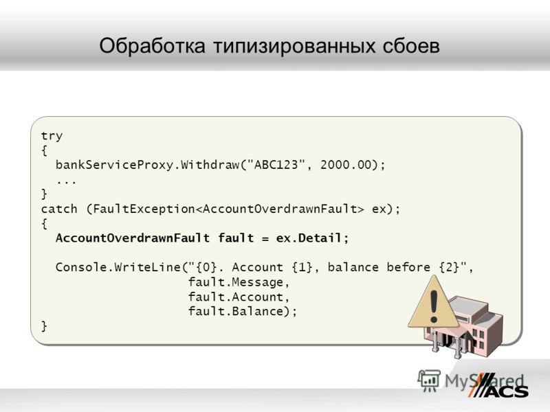 Обработка типизированных сбоев try { bankServiceProxy.Withdraw(