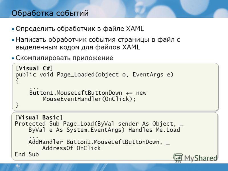 Обработка событий Определить обработчик в файле XAML Написать обработчик события страницы в файл с выделенным кодом для файлов XAML Скомпилировать приложение [Visual C#] public void Page_Loaded(object o, EventArgs e) {... Button1.MouseLeftButtonDown