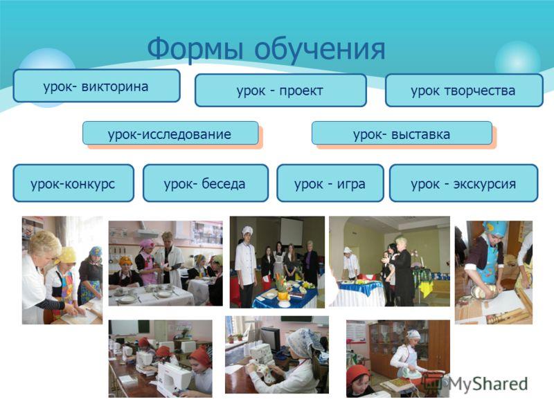 урок - играурок-конкурсурок- беседа урок - проект урок- викторина урок творчества урок-исследование урок- выставка урок - экскурсия Формы обучения