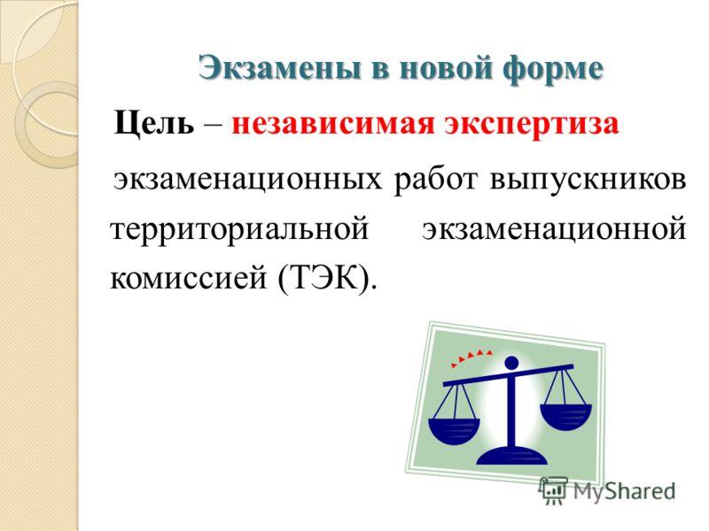 Экзамены в новой форме Цель – независимая экспертиза экзаменационных работ выпускников территориальной экзаменационной комиссией (ТЭК).