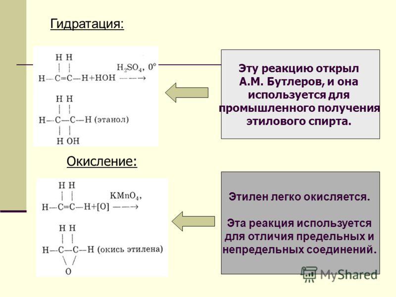 Гидратация: Окисление: Эту реакцию открыл A.M. Бутлеров, и она используется для промышленного получения этилового спирта. Этилен легко окисляется. Эта реакция используется для отличия предельных и непредельных соединений. Приложение 1